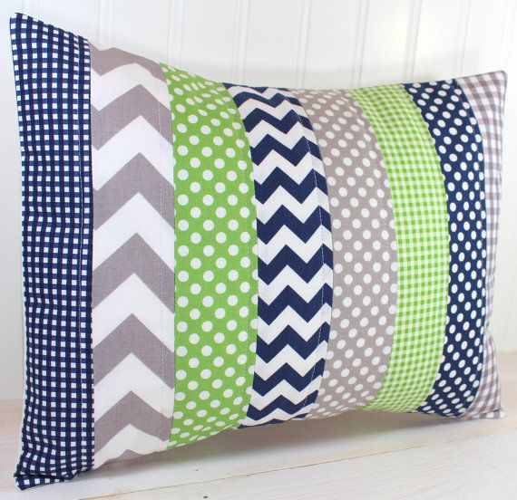 Pillow Cover Baby Boy Nursery Decor Patchwork by theredpistachio