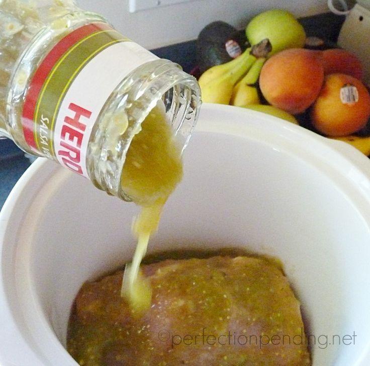 Slow Cooker Chile Verde Pork Carnitas: Jar of chile verde Pork Crock pot on low for 6 hours