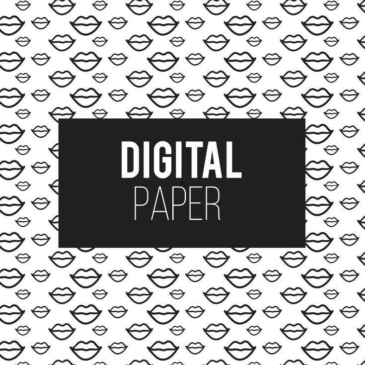 Lips Pattern Lips Digital Paper Makeup Pattern Digital