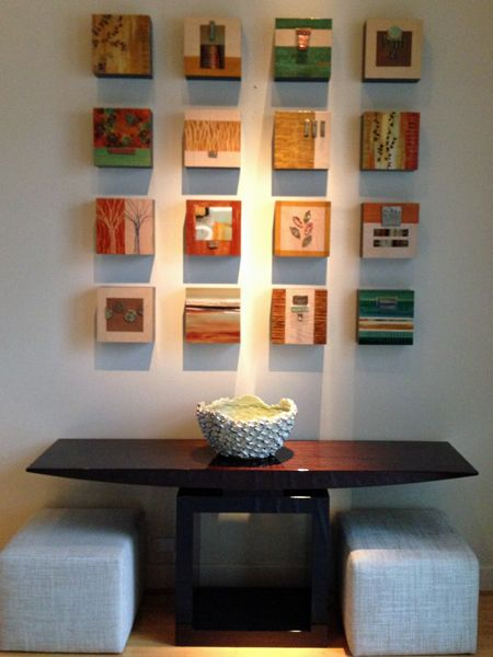 """My """"wall sculpture"""" artwork includes 3 series: """"Earth Series"""" (sets of long skinny totems), """"Outside of the Box"""" series (sets of box paintings), and """"Organic View"""" series, which are larger versions (done to your specs) of the """"Outside of the Box"""" series.…"""