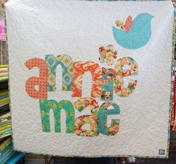20 best alphabet images on pinterest applique letters alphabet personalized quilt custom name quilt baby quilt by cottonandclover spiritdancerdesigns Images