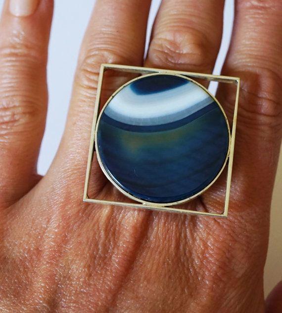 Handmade Agate Sterling Silver Ring 19g by HandmadeArtDesign