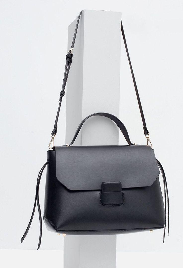 Black leather handbag, chic minimal bag // Zara