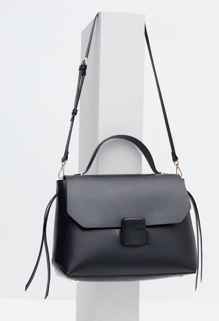 Black leather handbag, chic minimal bag // Zara