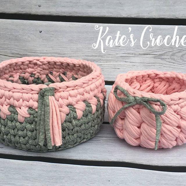 Проданы #kate_s_crochet #интерьерныекорзинки #вяжуназаказ #вяжукрючком #тпряжа #трикотажнаяпряжа #пряжалента