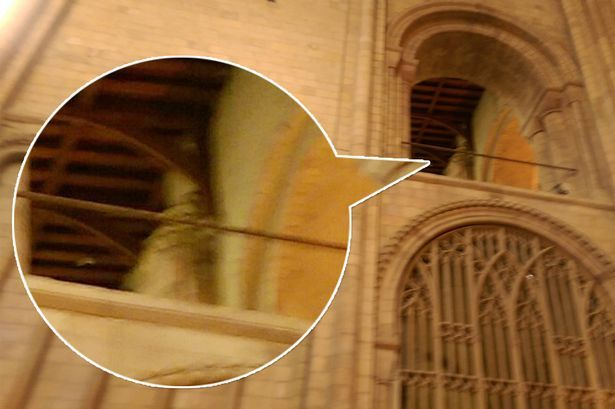 Is this a trick of the light or could this be the ghost of a medieval bishop lurking in the corner of Norwich Cathedral?