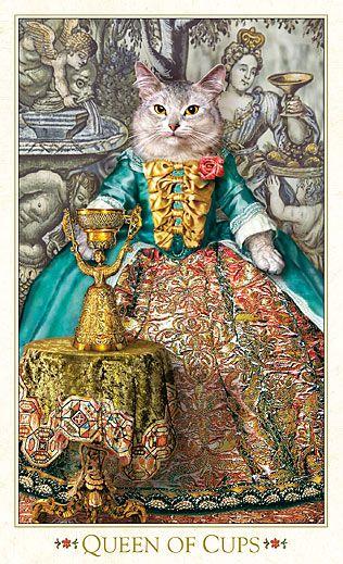 """La reine de coupes - Tarot baroque """"les chats bohèmes"""" par Alex Ukolov & Karen Mahony"""
