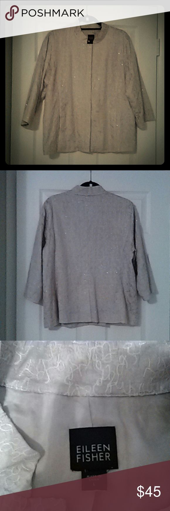 Eileen Fisher 100% Silk Embroidered Jacket Dazzling Jacket Embroidered Throughout. Hidden Front Buttons. Delicate Sparkly Sequins Are Woven Into Embroidery. Spectacular Jacket. Fully Lined. Eileen Fisher Jackets & Coats