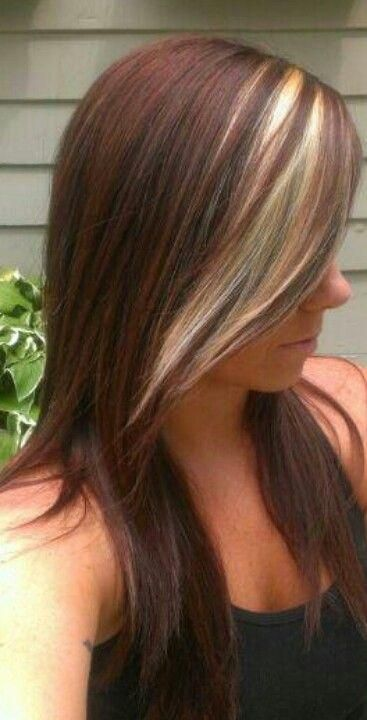 beautiful brownish red with a blonde peekaboo. Wanting to do this  But adding more of these peekaboo light blonde chunks under as well as the bang