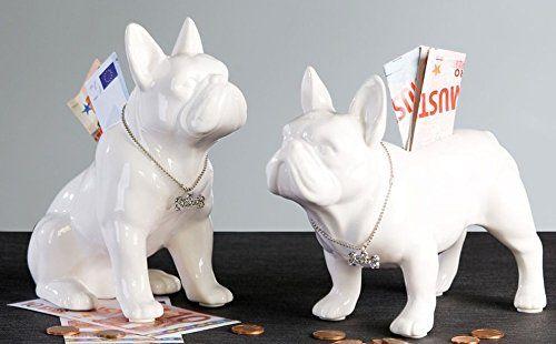 Ceramic piggy bank. French Bulldog SITTING white model. Height 7,8 inches