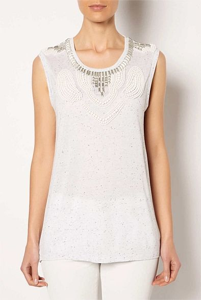 #witcherywishlist Beaded Neck Slub Top | Women's Clothing by Witchery Online