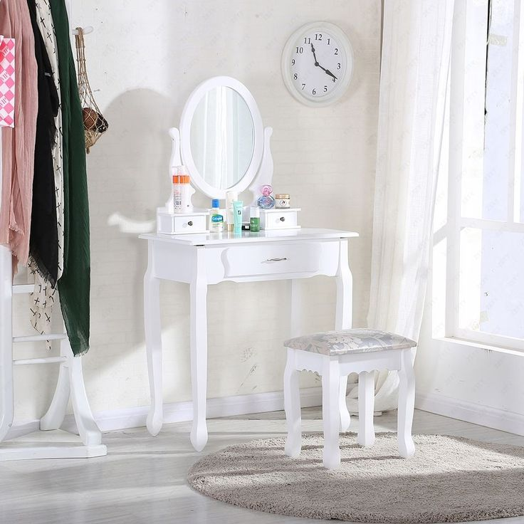 New bedroom w/ stool,3 #drawers and oval mirror #white dressing #table makeup des, View more on the LINK: http://www.zeppy.io/product/gb/2/272387227273/