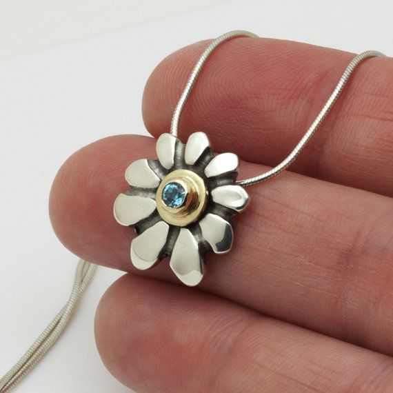 Flower pendant necklace Gold silver necklace Blue by SigalGerson