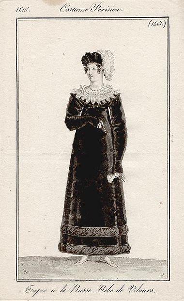 A black velvet dress perhaps for mourning 1815 Costume parisien