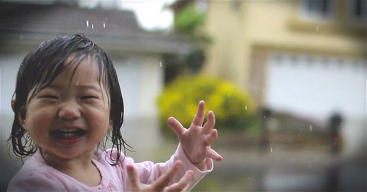 Sweet Toddler Dances in the Rain...For the First Time Ever - Cute Videos