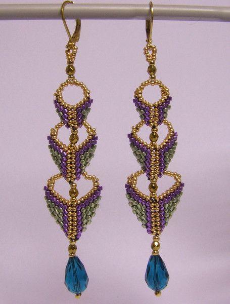 Dangle Earrings – Three step earrings- multi colour – a unique product by DarkEyedJewels on DaWanda