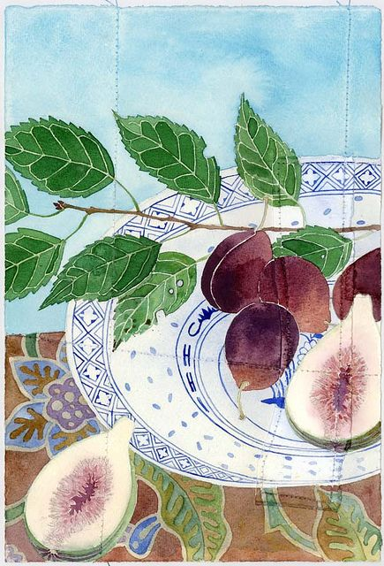 figs and plums by Mango Frooty, via Flickr Water color or Inktense?, hard to tell as the information is not provided on flickr.