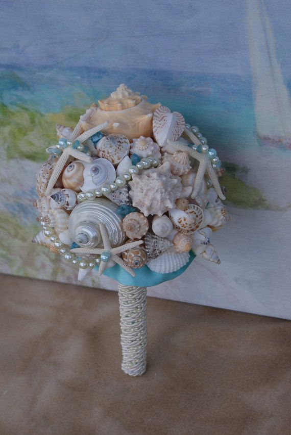 6 Piece Package Seashell Bouquet  Davids by SlyCreationsBouquets