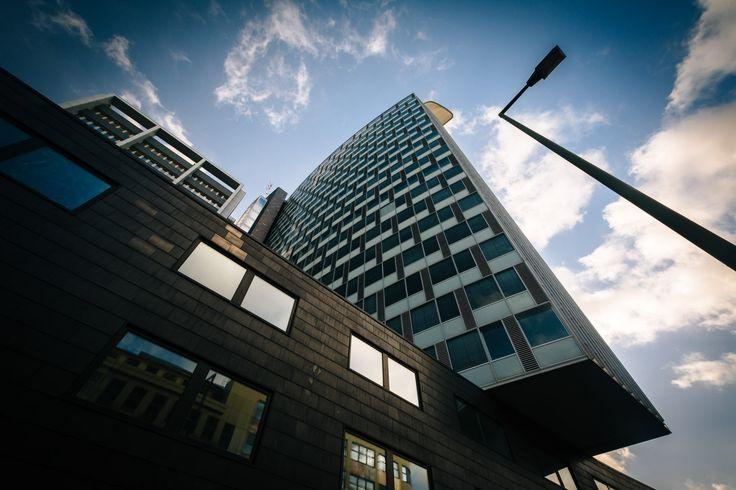 Modern buildings along Rudi-Dutschke-Stra?_e in Berlin, Germany.