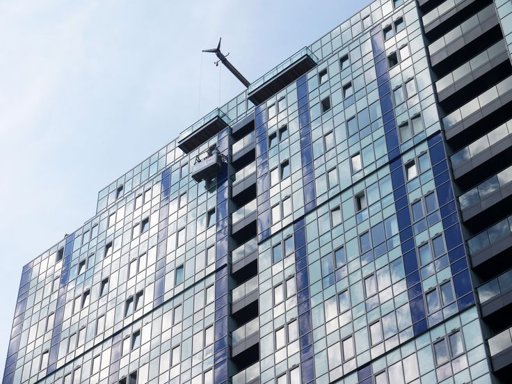 Commercial window cleaning in Hemel Hempstead on the old Kodak tower now named the KD tower.