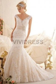 Trumpet/Mermaid V-neck Court Train Sleeveless Lace Wedding Dresses with Diamond Appliques Style 15427111  http://www.vividress.co.uk/lace-wedding-dresses-style-15427111.html