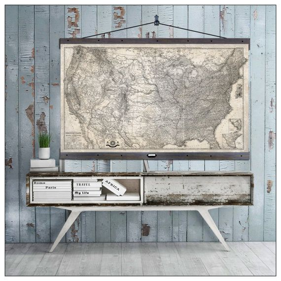 "USA Map Pull Down Map. Hanging or Pull Down Map. 60""h x 44""w,  Vintage 1873 United States Map,  Antique wall map,  Pull Down Map"