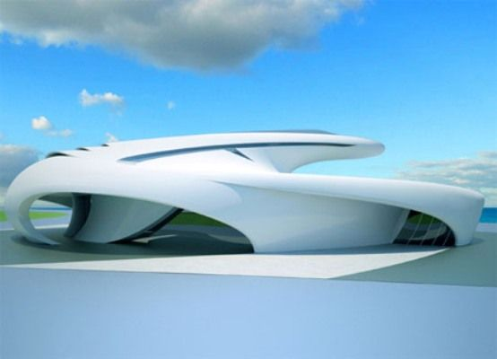 If my animation takes place in a futuristic environment, it might include free-flowing forms of shiny, white material.