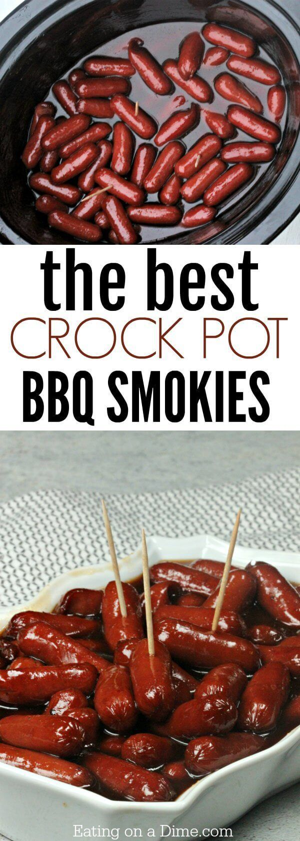 Try this easy BBQ Little Smokies Crock Pot Recipe with the best little smokies sauce! This is the best of lil smokies recipes.