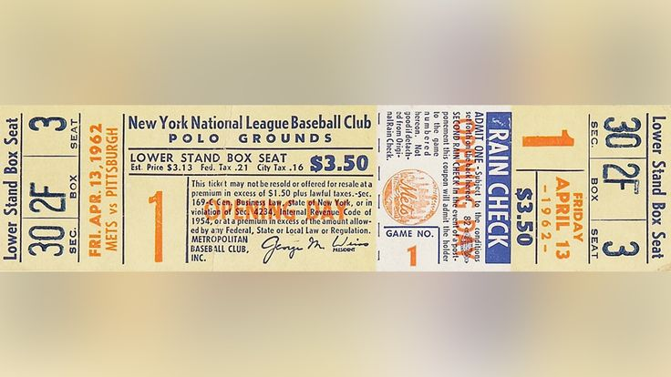 1962 New York Mets : Tickets here! Superior stubs from MLB's opening days