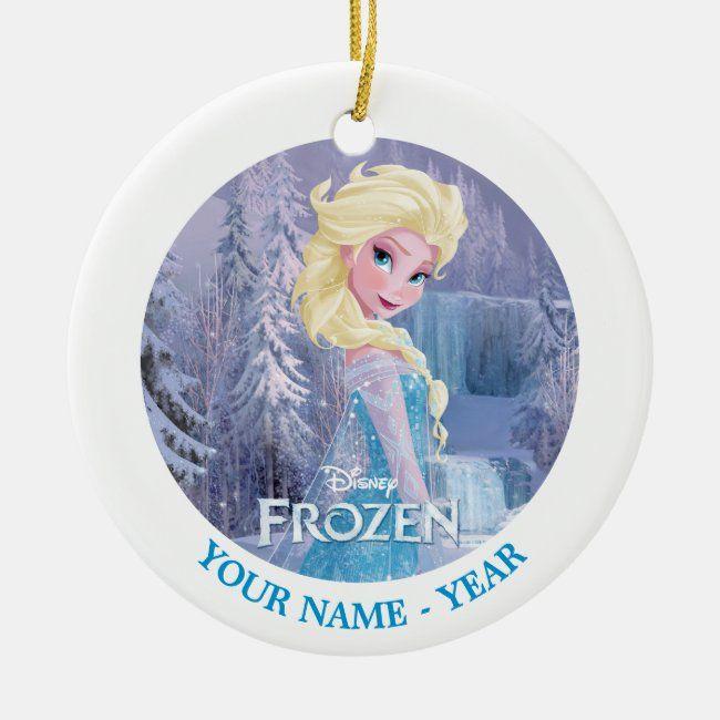 Elsa With Frozen Logo Add Your Name Ceramic Ornament Zazzle Com In 2020 Disney Ornaments Frozen Christmas Tree Frozen Christmas