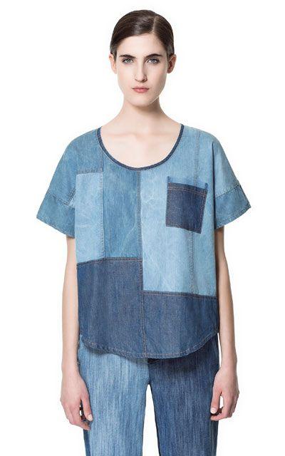 Image 1 de TOP DENIM PATCHWORK de Zara