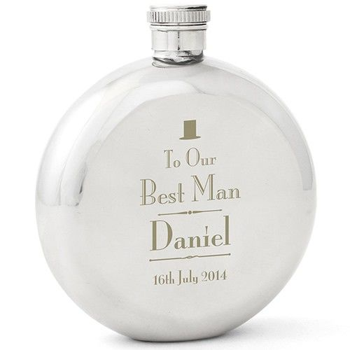 Personalised Decorative Wedding Best Man Round Hip Flask  from Personalised Gifts Shop - ONLY £24.99