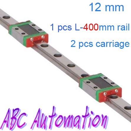Free Shiping 12mm miniature linear guide 12 400 2= 1pcs L 400mm linear rail + 2pcs standard blocks-in Linear Guides from Industry & Business...