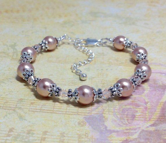Rose Gold Pearl Bracelet Bridesmaid by PearlsAndPebbles2015