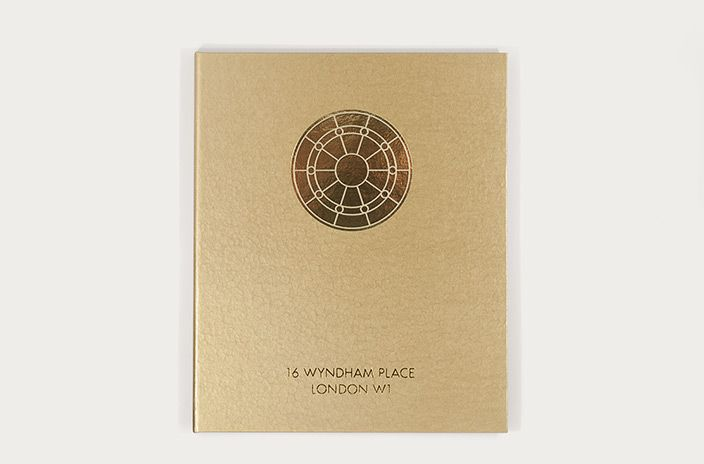 Coffee-table book by Phage for design-led property developers Studioloop to launch their latest luxury London home. The fan-light motif on the cover is based on a beautifully restored original feature from the property, foil-blocked in gold onto a textured hammered gold paper over board.