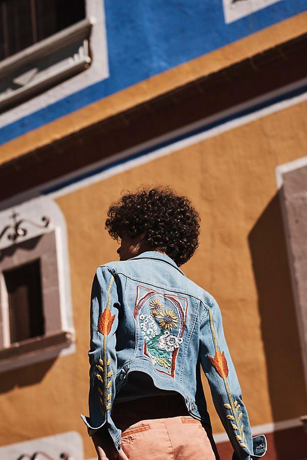 Slide View: 4: Pilcro Embroidered Denim Jacket