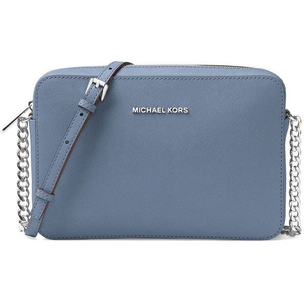 Michael Michael Kors Jet Set Travel Large Saffiano Leather Crossbody... (57165 SYP) ❤ liked on Polyvore featuring bags, handbags, shoulder bags, denim blue, cross body travel purse, travel handbags, michael michael kors handbags, crossbody travel purse and blue shoulder bag