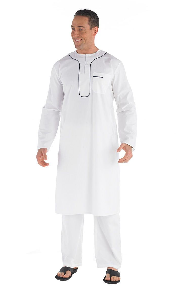 Round neck traditional Men's Kurta set (pants included).  Contrast piping around neck. Side and Chest pockets. Fabric: 100% Cotton.