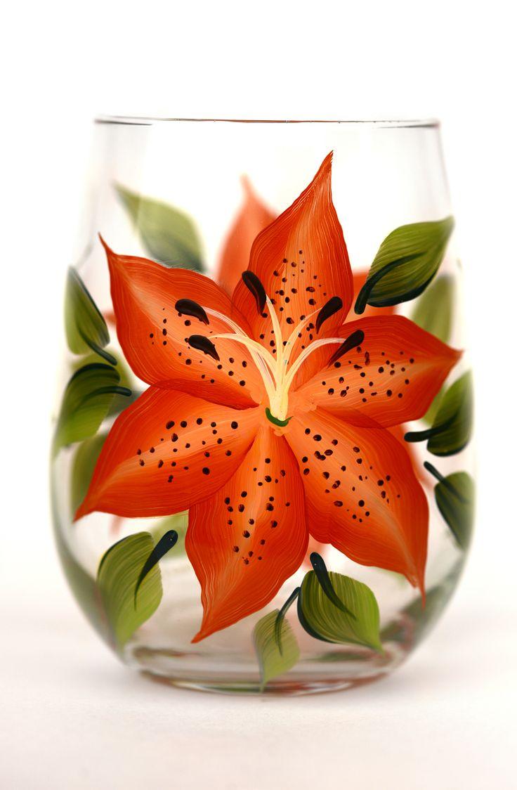 Tigerlilies Stemless Wine Glass