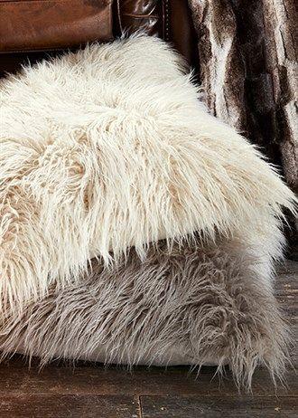 Large Faux Mongolian Fur Cushion (58cm x 58cm)