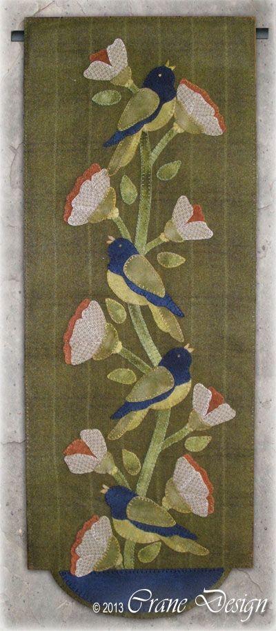 Crane Design by Jan Mott Wool Applique Penny Rug & Punchneedle Patterns: New Pattern Release Birds in Bloom Wool Applique Wall Hanging