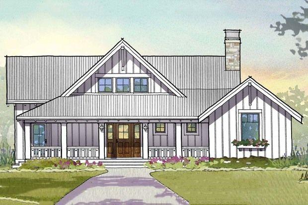 Farmhouse Style House Plan - 3 Beds 3.5 Baths 2597 Sq/Ft Plan #901-110 Front Elevation - Houseplans.com