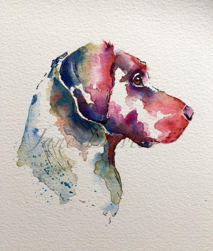 Pet portrait Labrador painted in watercolour by artist Jane Davies