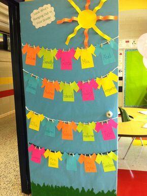 beginning of school classroom door decorations | Back to school classroom door...Students can decorate their own shirts ...