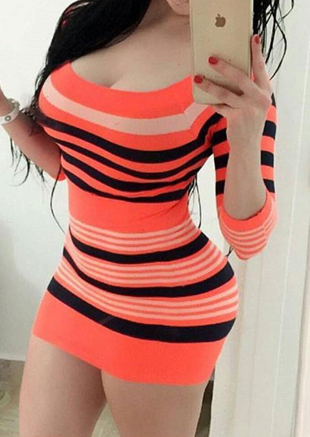 Striped Striped Three Quarter Sleeve Bodycon Dress Apparel & Accessories > Clothing > Dresses