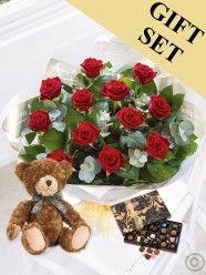 Heavenly Red Rose Hand-tied, Chocs & Benjamin Bear