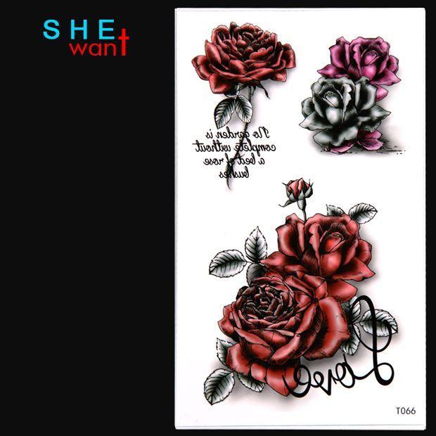 Waterproof Temporary Tattoo Sticker Love Rose Flower Design Flash Tattoo Women Sexy Arm Shoulder Water Transfer Tattoos