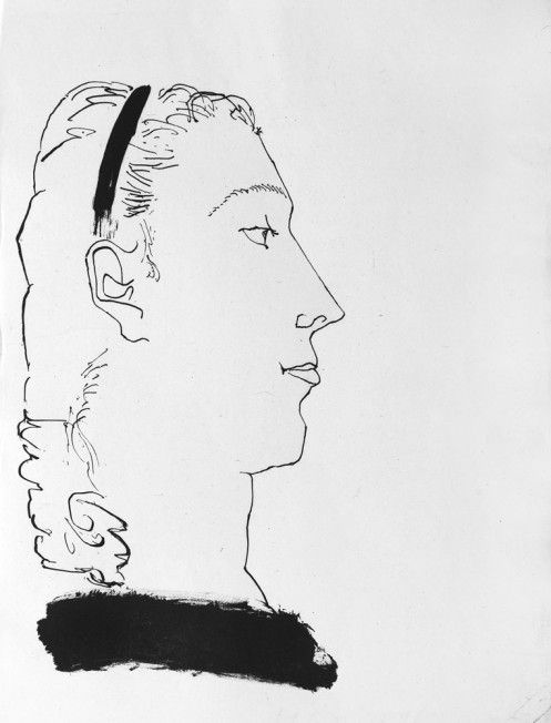 Pablo Picasso -Head of a haughty woman with a ribbon in her hair