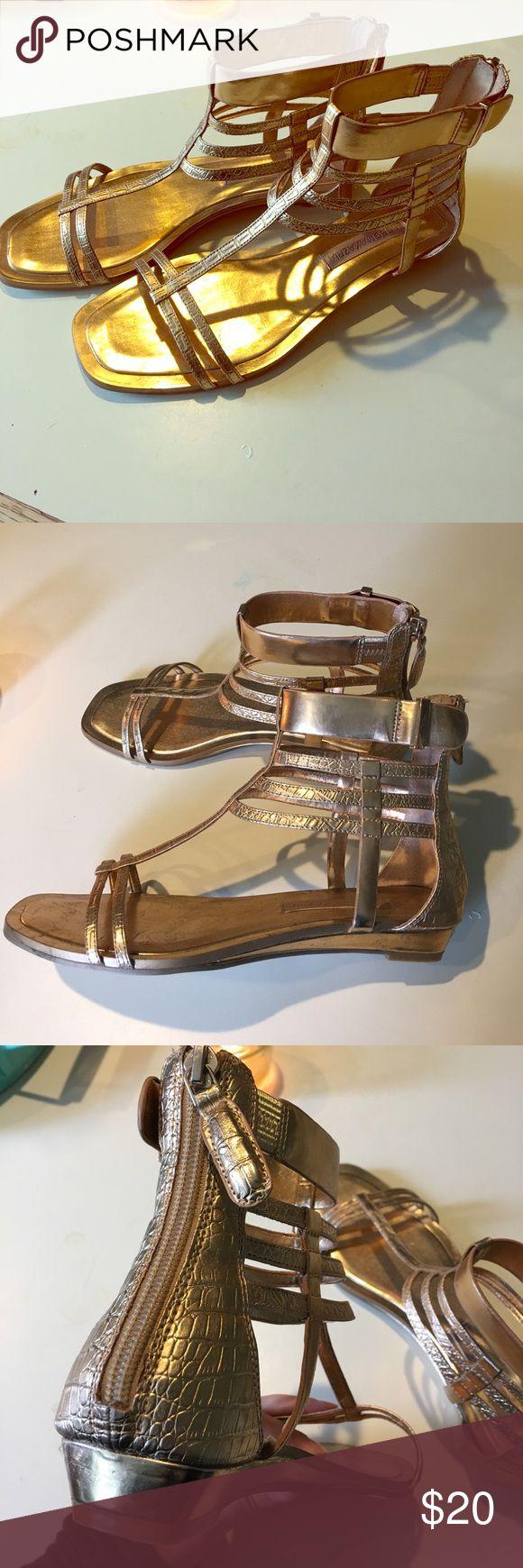 BCBG Aztec Sandals Gold/Copper Aztec sandals zip up the back by bcbg BCBGMaxAzria Shoes Sandals