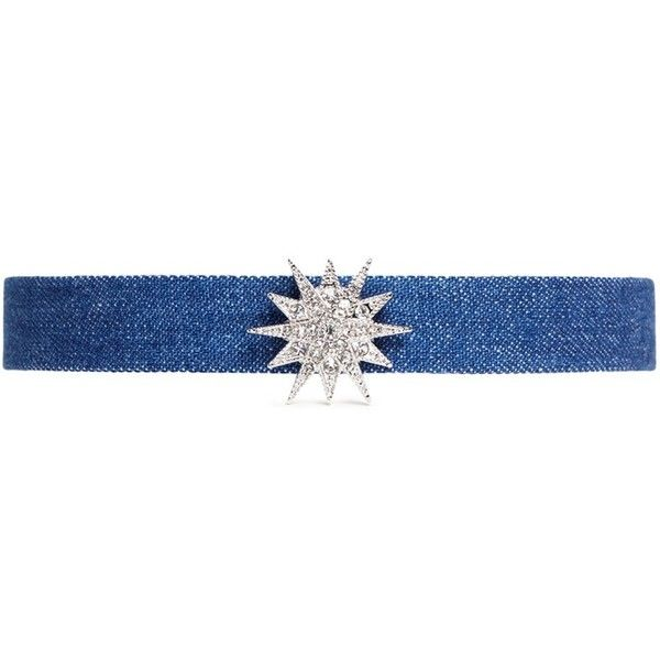 Kenneth Jay Lane Glass crystal star charm denim choker found on Polyvore featuring jewelry, necklaces, blue, kenneth jay lane necklace, blue choker, denim necklace, star necklace and adjustable necklace